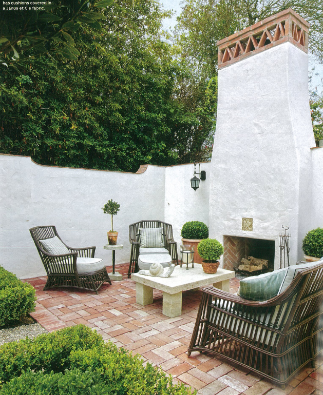 Brick Flooring And Exterior Fireplace Spanish Style Homes