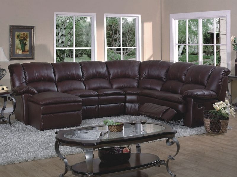 Superieur Cordoba Leather Sectional With Recliner And Chaise   Pc Brown Leather Match Sectional  Sofa With Left Arm Chaise And Right .
