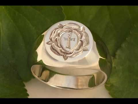 Rosicrucian Rose Hand Engraved Gold Signet Ring Looks