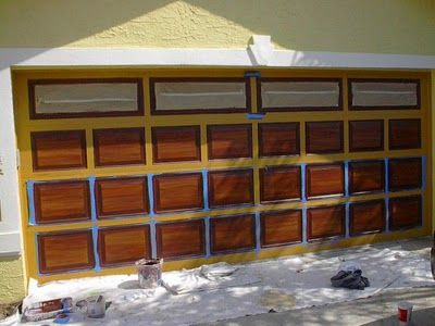 How to paint your metal garage door to look like a wooden for How to paint faux wood garage doors