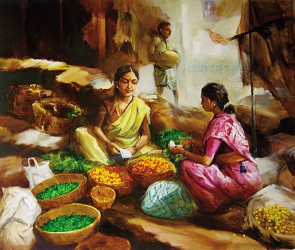 Market Indian Paintings Composition Art Indian Artwork