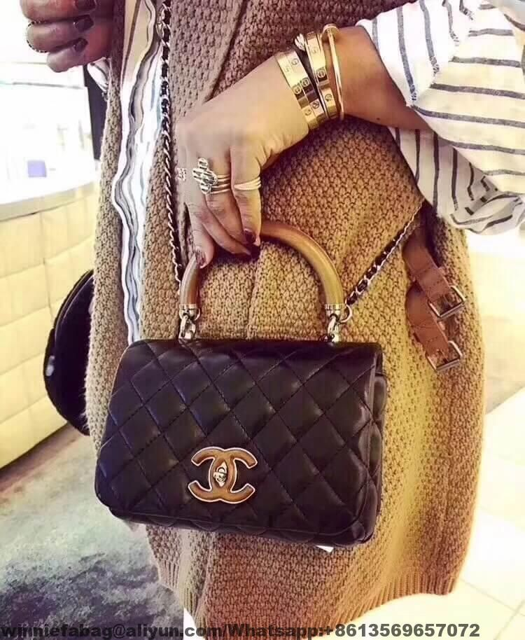 083d7bf117ea Chanel Lambskin Knock On Wood Top Handle Bag A57342 2018 | Chanel in ...