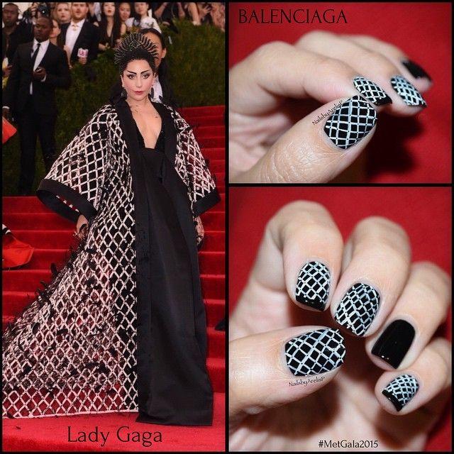 Met Gala 2015 nail art inspiration... @ladygaga wearing @balenciaga... On the nails @essiepolish Licorice as base, the rest was all freehanded with acrylic white paint... #balenciaga #MetGala #metgala2015 #fashionnails #fashion #nails #nailartmay #notd #ladygaga #gaga #gala #inspiration # # # #❤️ #agram.com/p/2T0RxaoKLy/