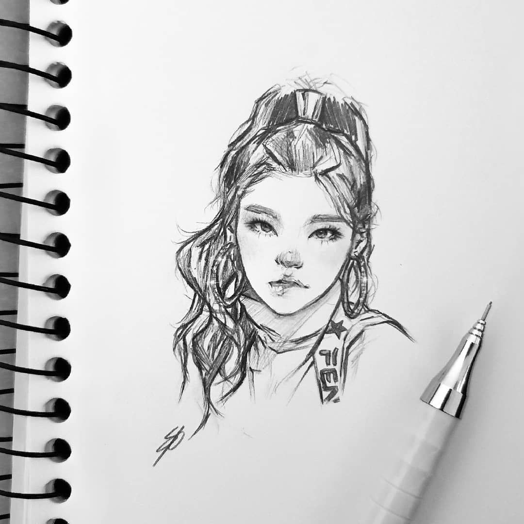 Nikki On Instagram Yeji Itzy Itzyfanart Fanart Yeji Art Drawing Sketch Kpop Kpop Drawings Fan Art Drawing Art
