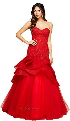 $+  Mac Duggal's 48422H Spring 2016 Collection Women's Dress, Red, Size 6