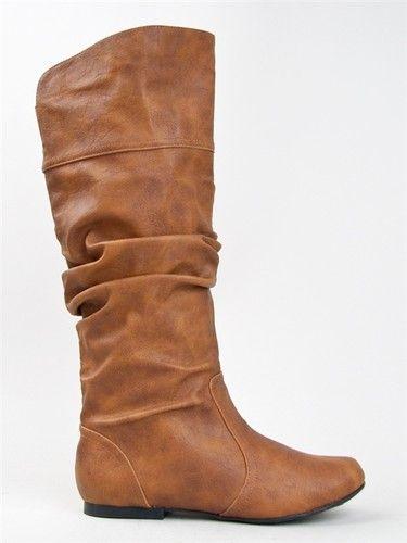 NEW QUPID Women Basic Slouch Knee High Flat Boot Shoe brown tan sz Cognac  neo144
