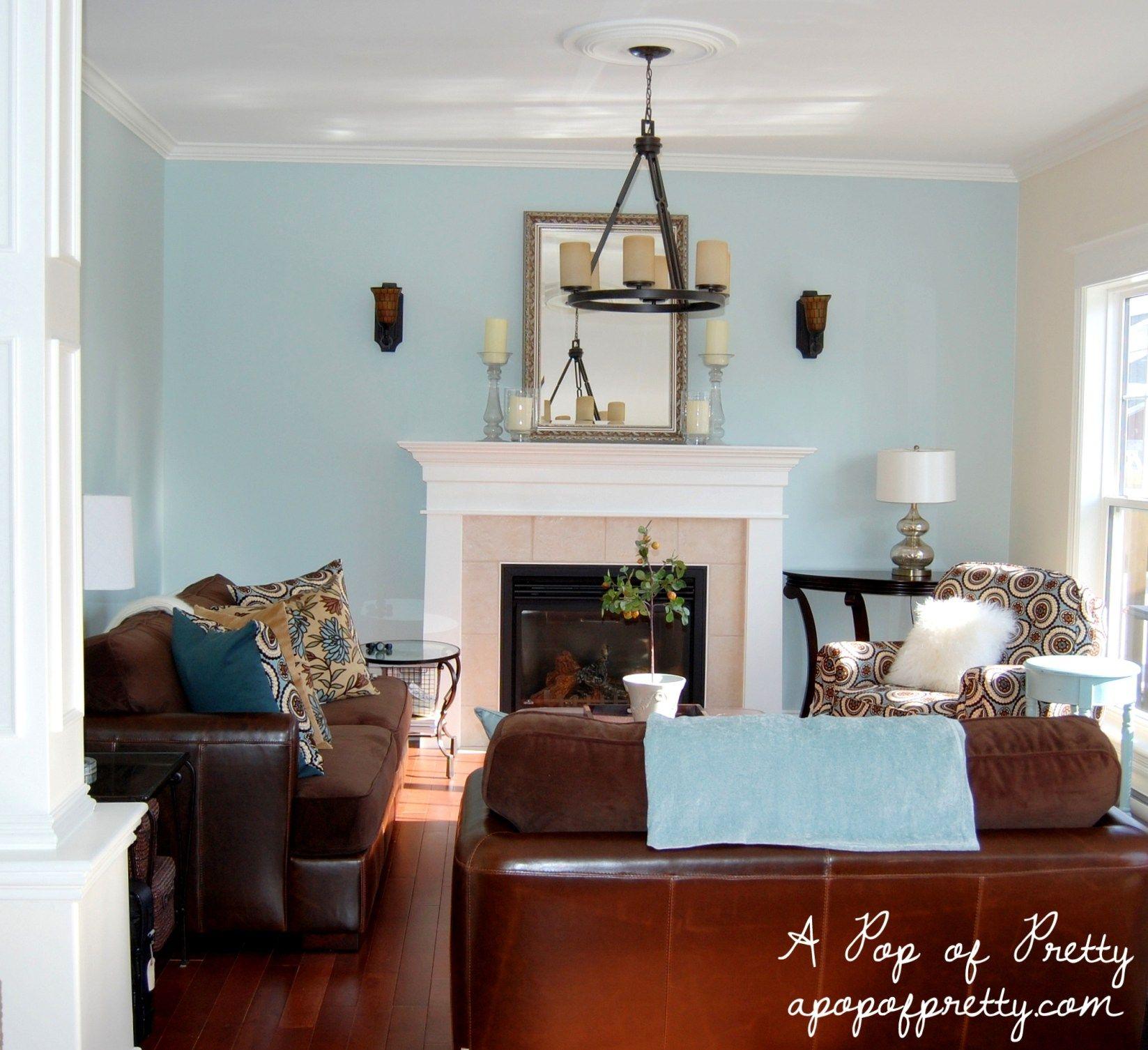 Benjamin Moore Woodlawn Blue Living Room