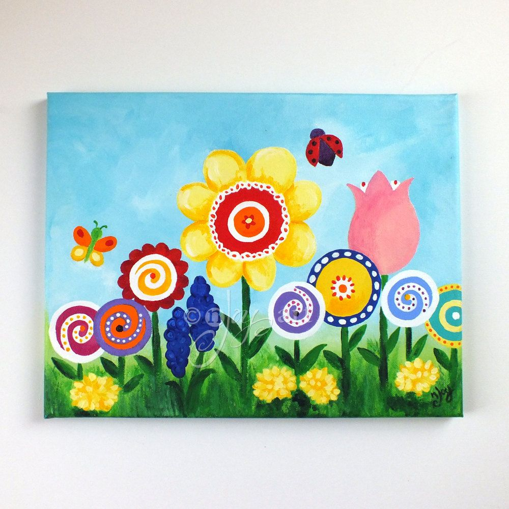 Art for kids room flower garden 14x11 canvas painting for Kids room canvas