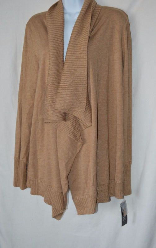 Details about INC Womens Large Beige Tan Long Sleeve Open Cardigan ...