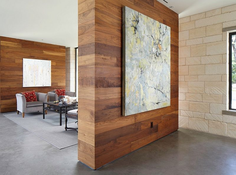Wooden Wall Panels Add Warmth To The Room - Decoist | Fireplaces