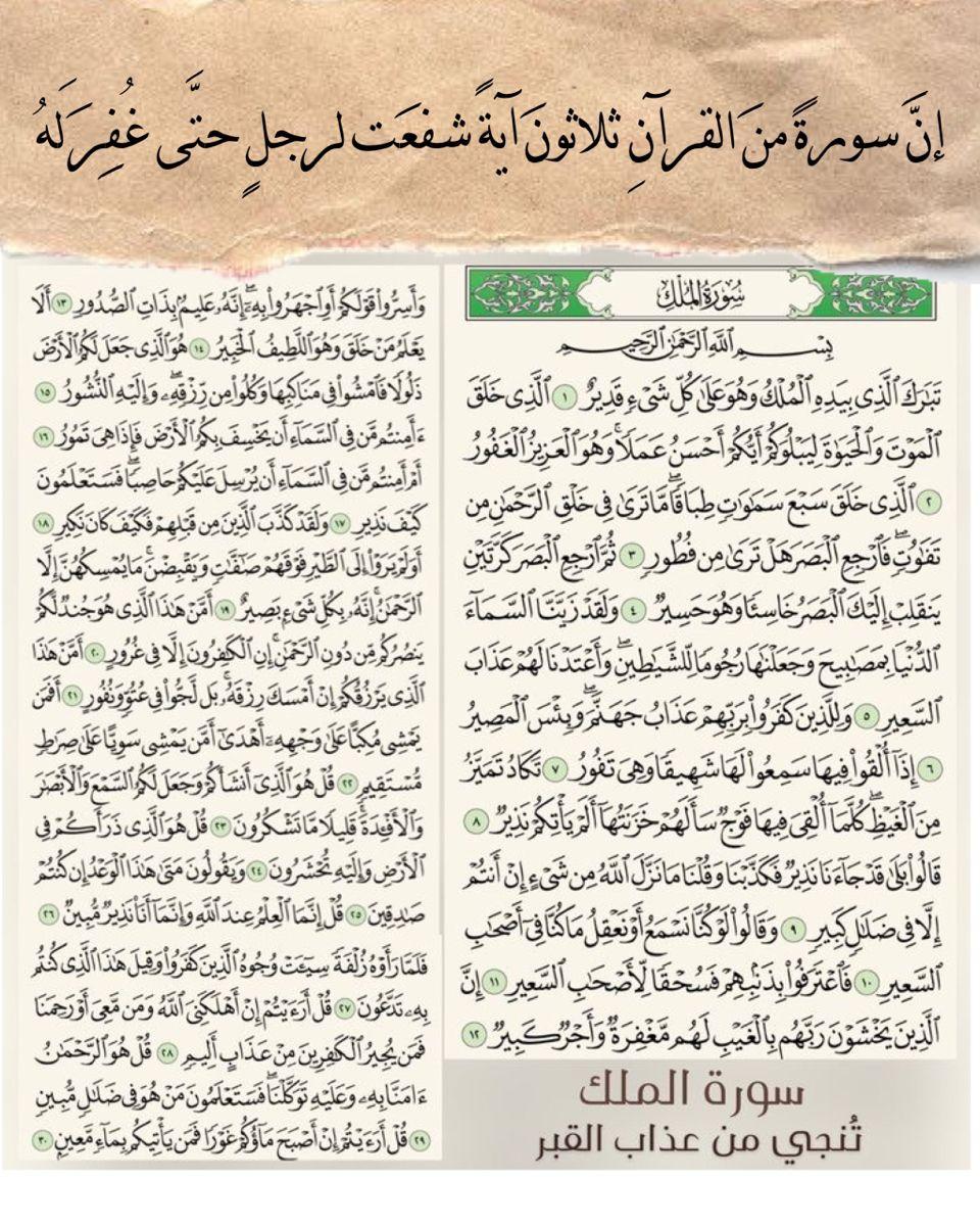 سورة الملك In 2021 Quran Quotes Islamic Quotes Wallpaper Wallpaper Quotes