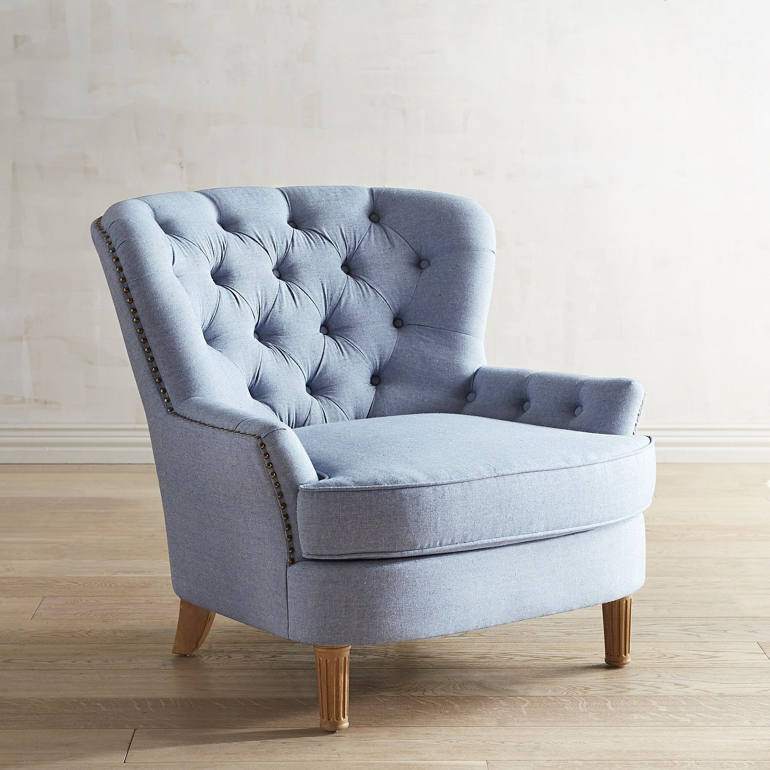 Eliza Chambray Blue Chair | Bedroom chair, Blue armchair, Chair
