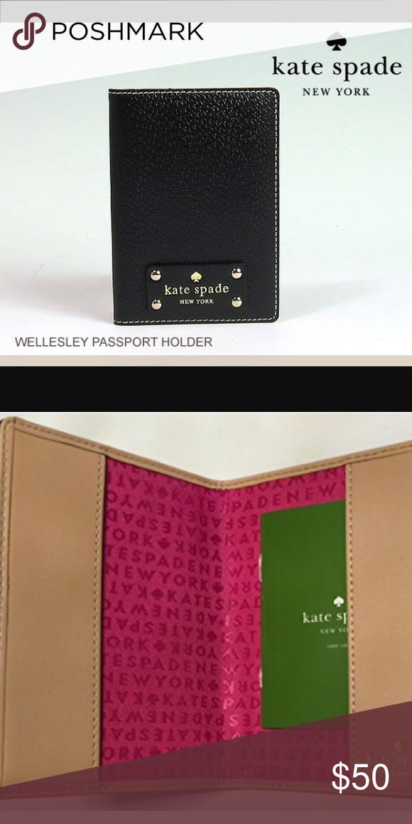 """Wellesley Passport Holder Kate Spade Wellesley Black Leather-based Passport Holder Case WLRU1236 Kate Spade Wellesley Black Leather-based Passport Holder Case WLRU1236 Approx. Dimensions 3.five"""" X five"""" X 0.five"""" Slit pocket on again Stunning boarskin Leather-based with gold tone hardware kate spade Bags"""