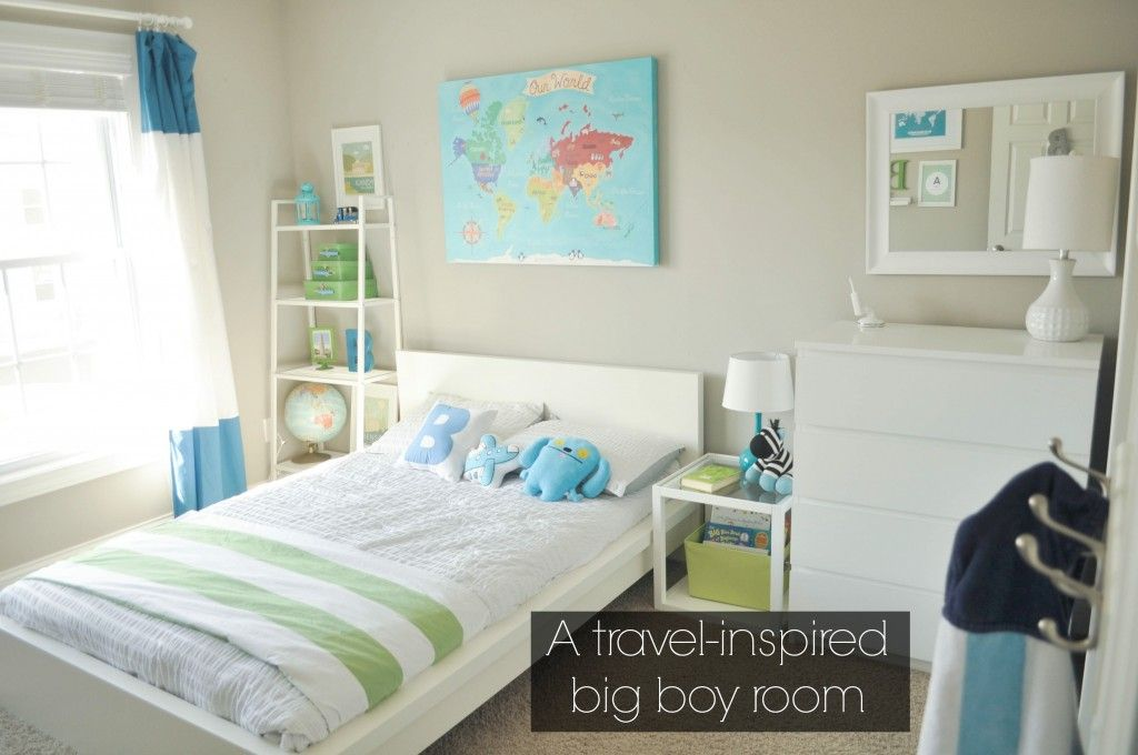Bodhi's travel-themed big boy bedroom. A room with modern ...