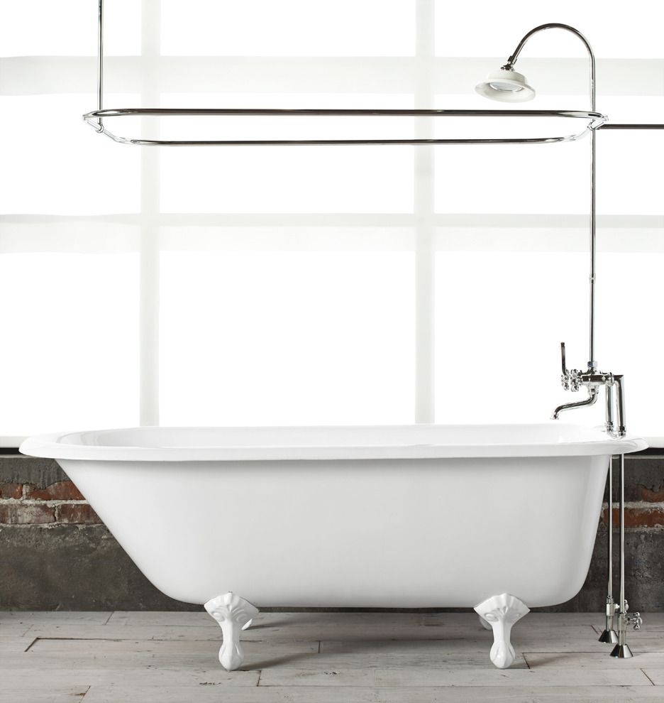 51/2' Clawfoot Tub with White Exterior Clawfoot tub