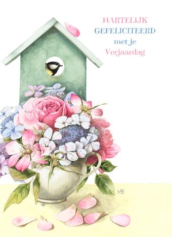Verjaardag Vrouw Marjolein Bastin Bloemen Bloem Vaas Vogelhuisje