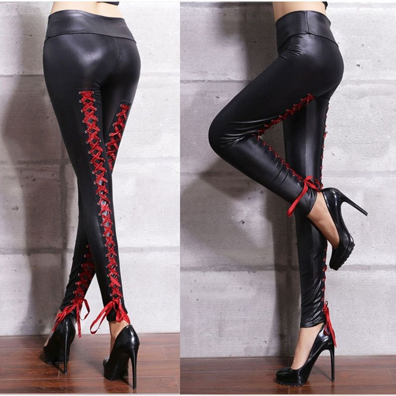 c35cb97ed96 Women Sexy Lace Bandages leather pants Black PVC Leggings Goth Fetish pu Faux  Leather skinny Pants Punk Rock Wet Look Club Wear-in Leggings from Women s  ...