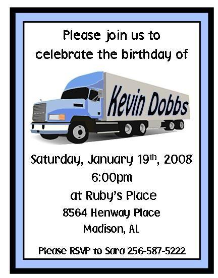 Blue Semi Truck Party Birthday Invitations Birthday Invitations