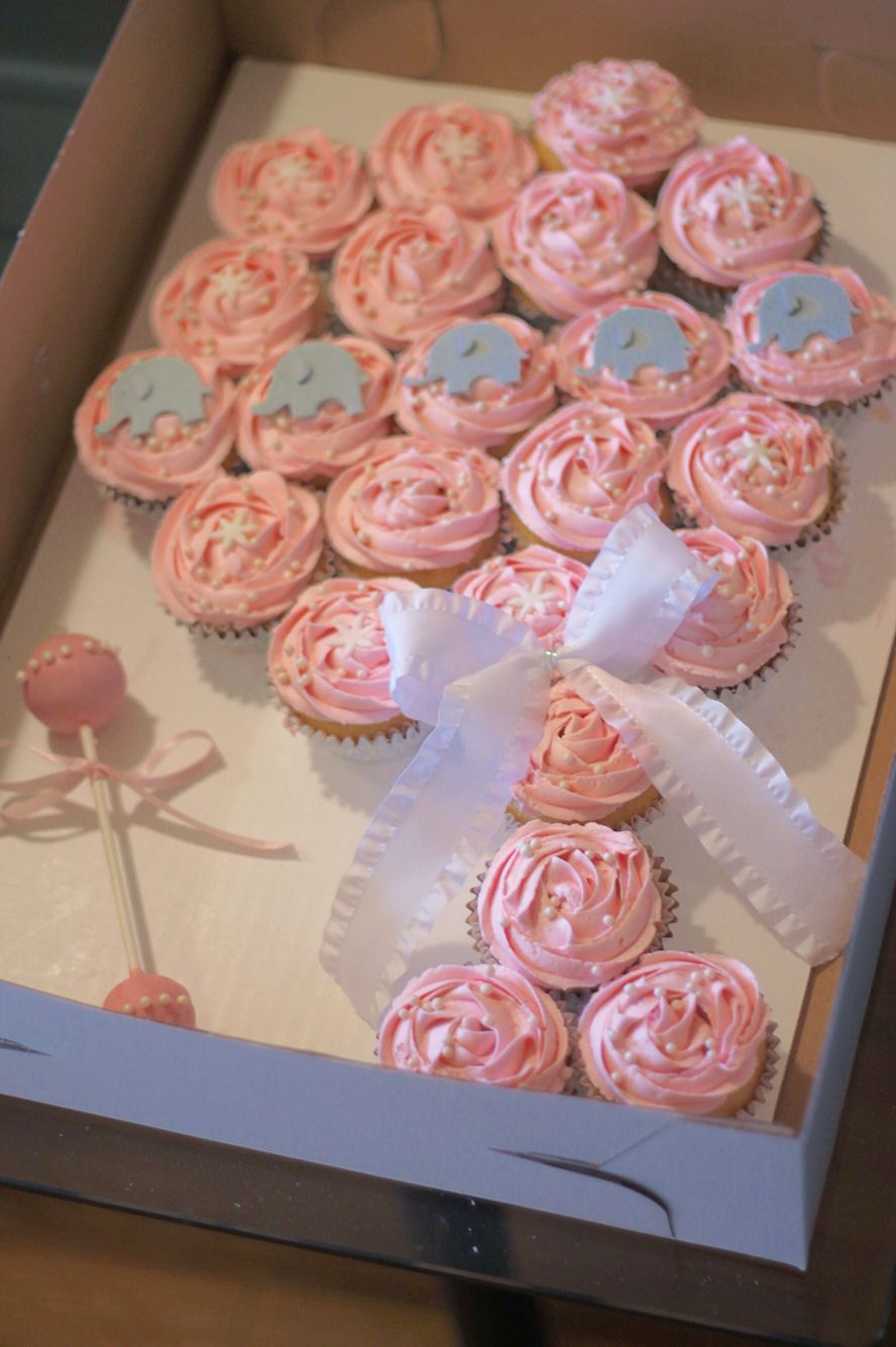 Baby Rattle Cupcake Cake Elephant Cupcakes Shower Pink And Gray