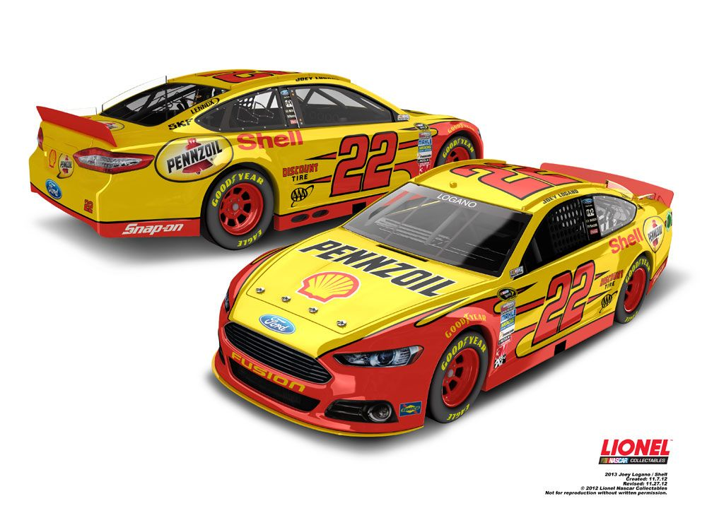 No 22 Joey Logano Shell Pennzoil Paint Scheme On The New Ford