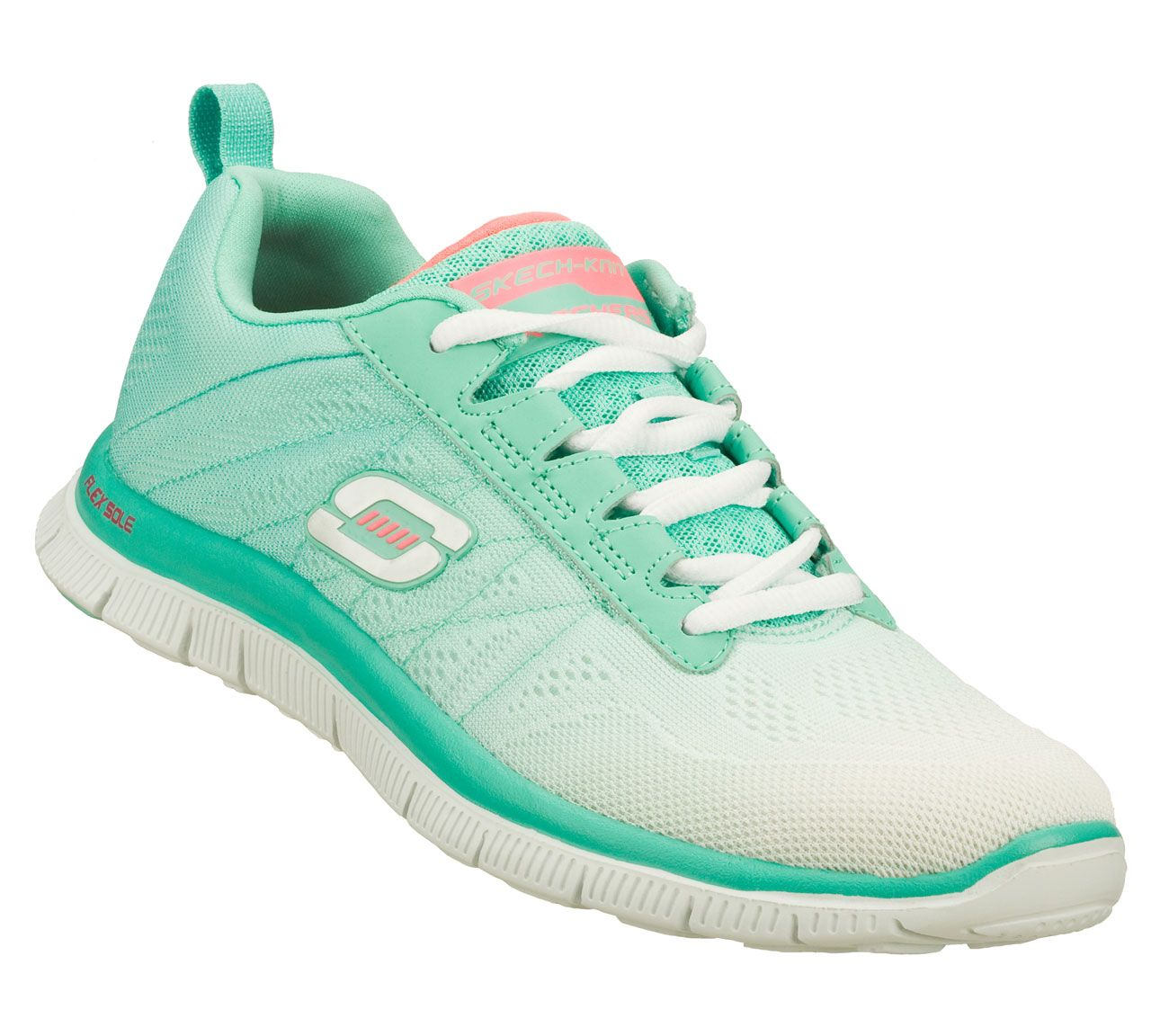 ... fun colors come in the SKECHERS Flex Appeal - New Rival shoe.  Skech-Knit Mesh fabric upper in a lace up sporty training sneaker with  Memory Foam insole.