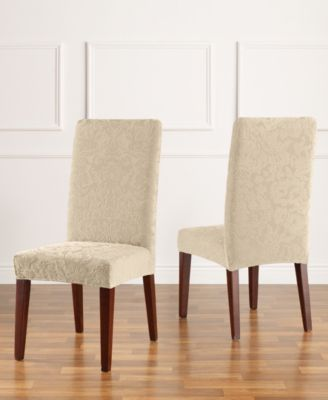 Sure Fit Stretch Jacquard Damask Short Dining Chair ...