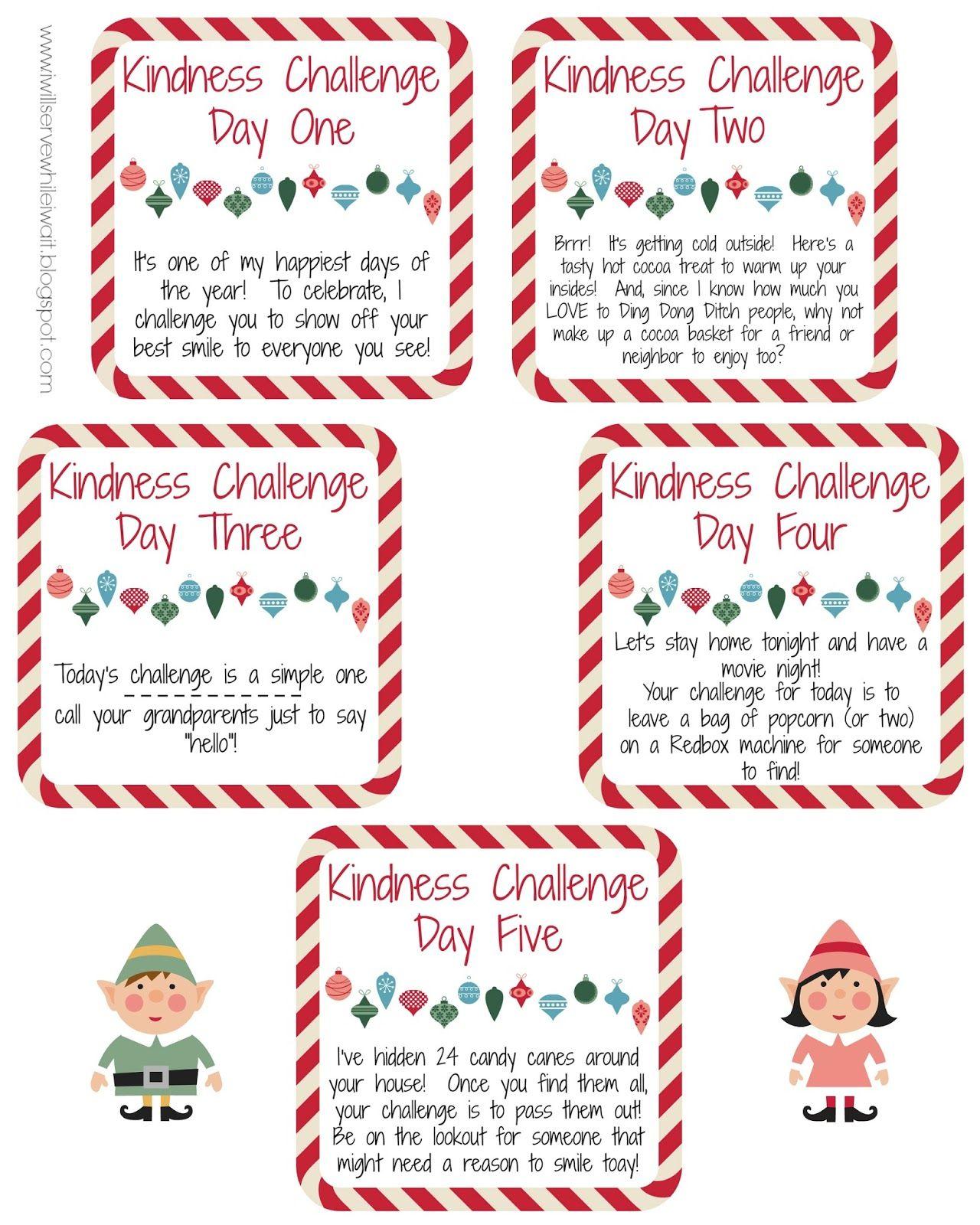 An Elf Kindness Challenge Free Printables