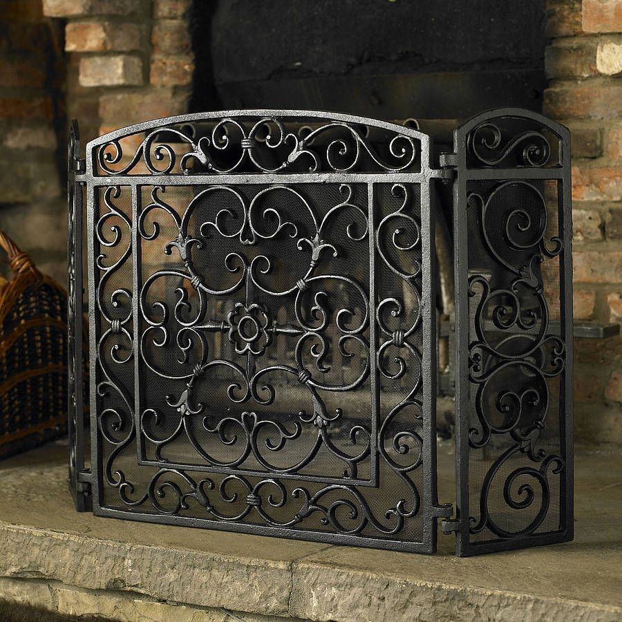 Tuscan Scroll Wrought Iron Fireplace Screen | Wrought iron ...