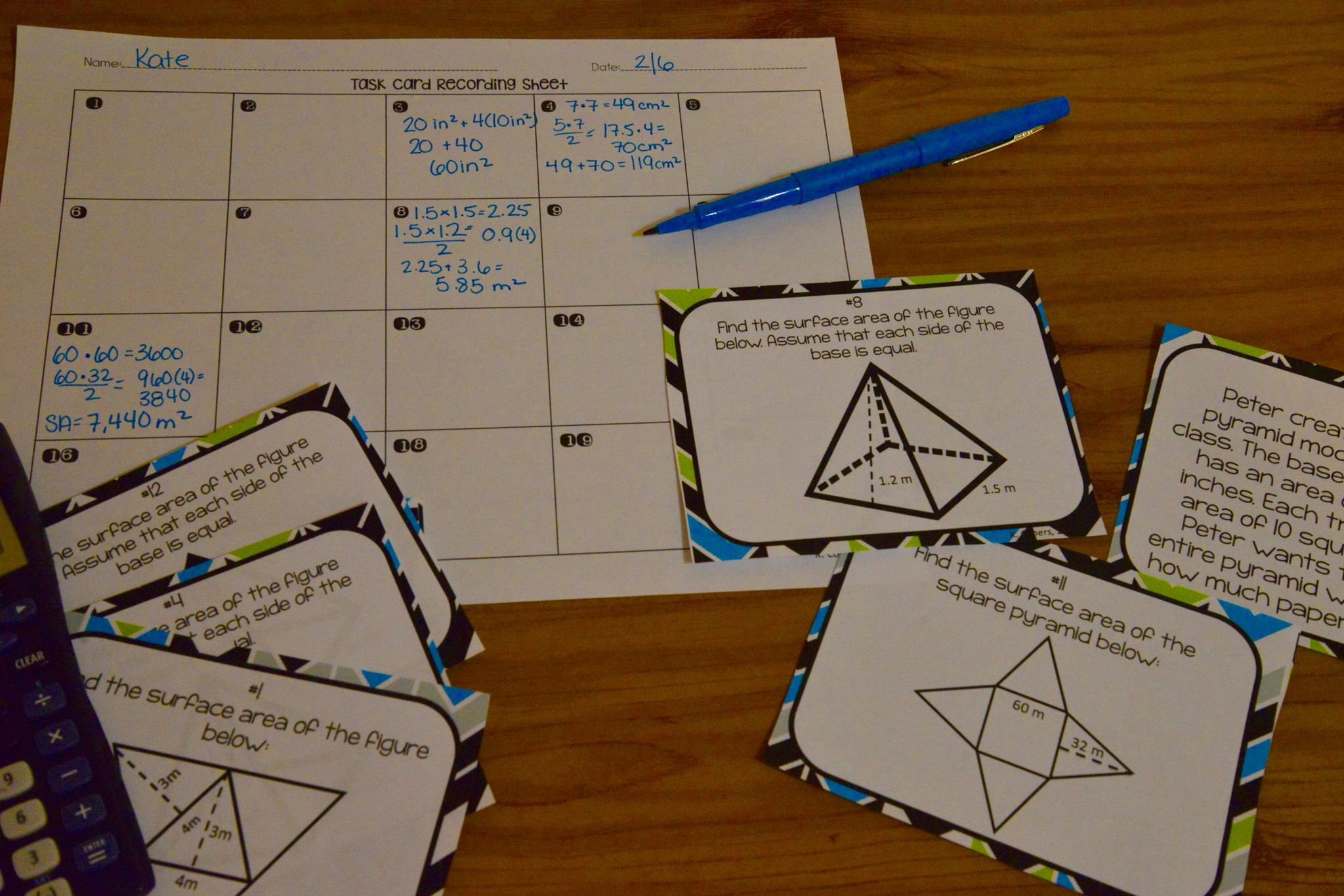 Surface Area Of Pyramids Amp Prisms Task Cards With Images