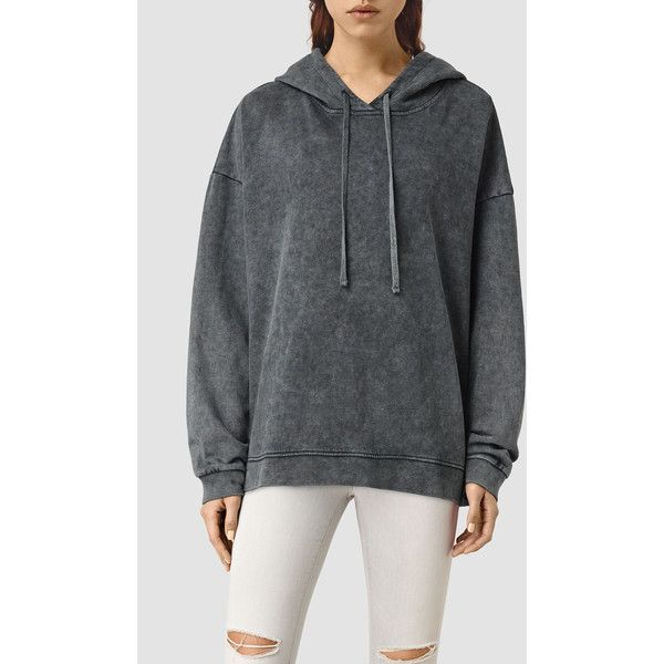 AllSaints Tor Hoody (29.415 HUF) ❤ liked on Polyvore featuring tops, hoodies, black, hoodie top, cotton hoodies, allsaints, cotton hooded sweatshirt and cotton hoodie