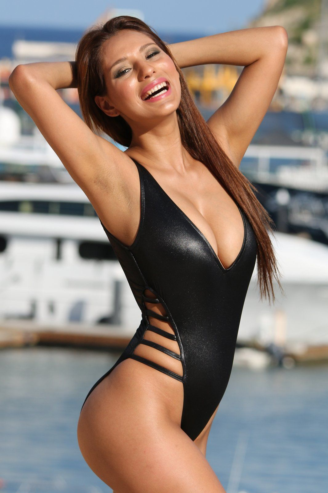 b16ee5121d2 #Strappy Slick #HighCut #OnePiece Black Cire fabric is so hot in this super  sexy and #FashionSwimsuit www.ujena.com