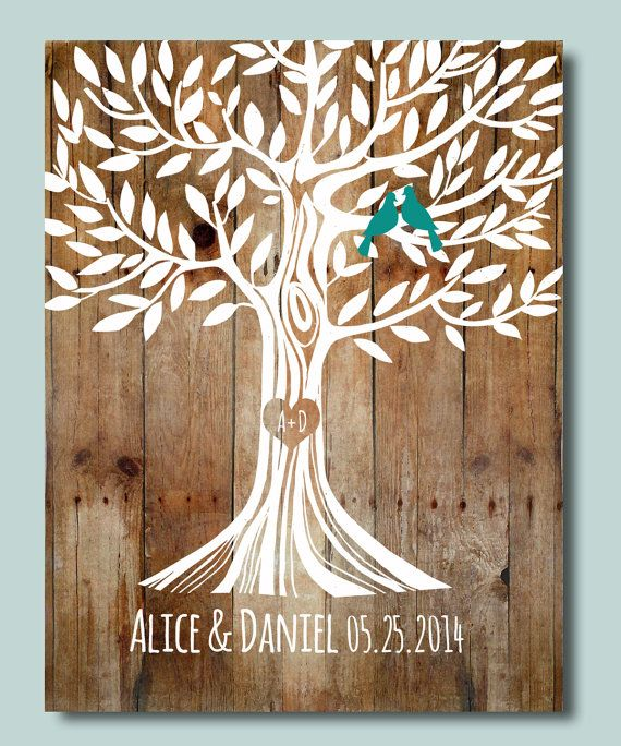 Custom Wedding Art Poster: Wood Color Paper Background Wedding 1st Anniversary Gift