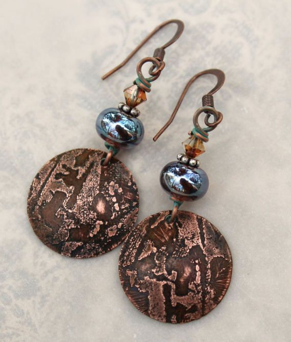 Rustic Etched Copper Artisan Earrings designed by ContentsJewelry