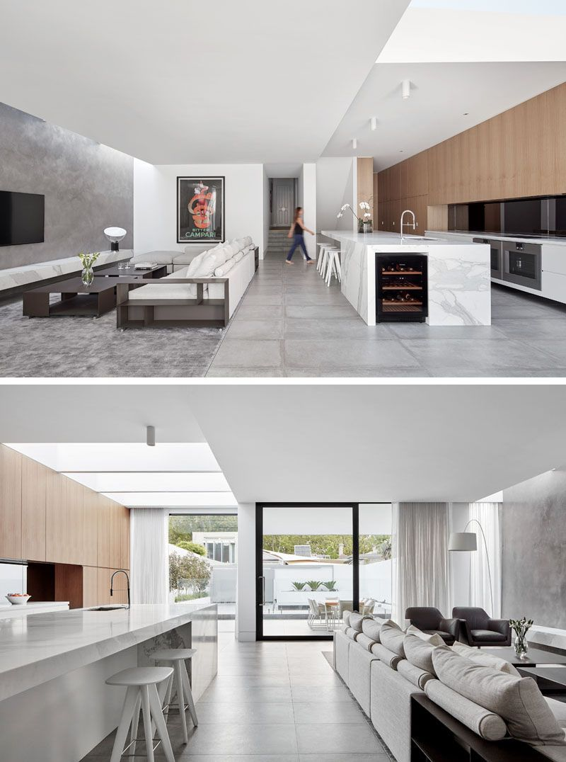 Design For Living Room With Open Kitchen: A Modern Cantilevered Rear Extension Was Added To This