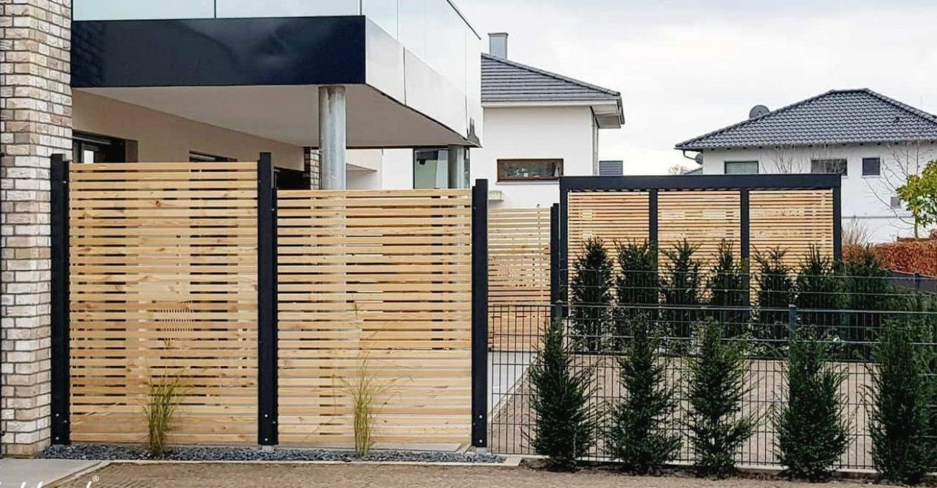 Sichtschutz Zaun Holz L Rche Metall Anthrazit Modern Stahlzart Gartenterrasse Garten Terrasse Fence Design Backyard Wood Privacy Fence