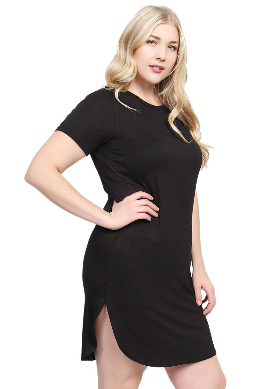 835d2b8b5e833 Plus Size T Shirt Dress With Slits - BCD Tofu House