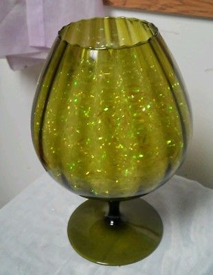 Vtg 1960s Mid Century Modern Olive Green Art Glass Pedestal Fish ...