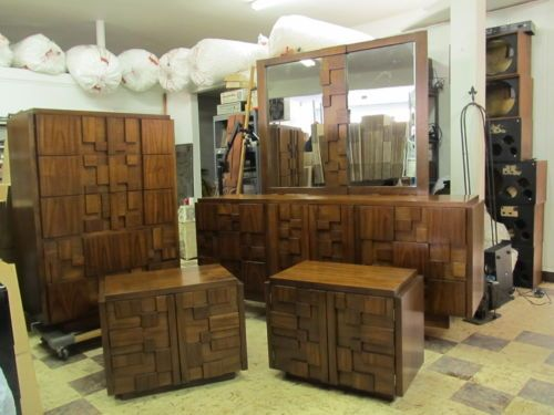 Best Vintage Lane Bedroom Set Dresser Chest Mirror Brutalist 640 x 480