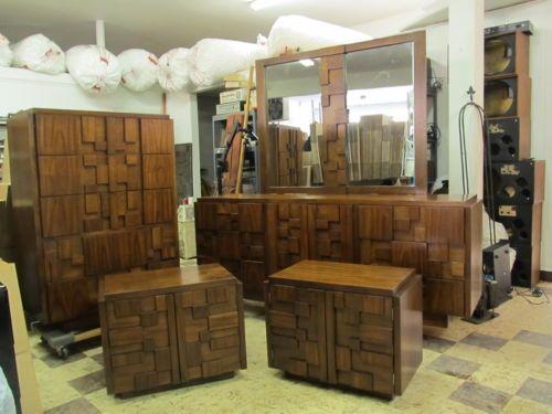 Vintage Lane Bedroom Set Dresser Chest Mirror Brutalist Mid Century Modern Mod Brutalist Mid