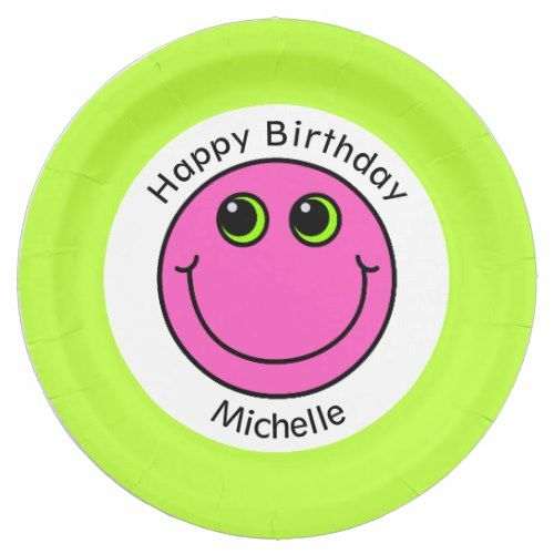 sc 1 st  Pinterest & Pink Smiley Face Personalized Party Paper Plate