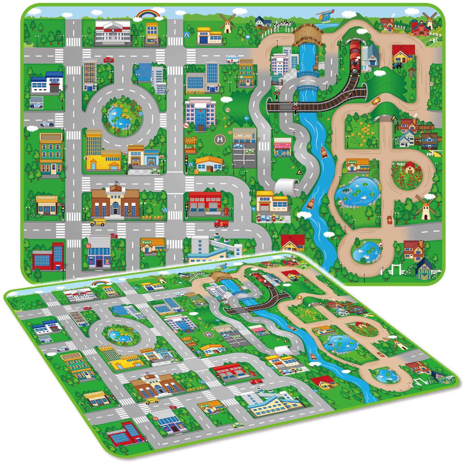 Giant Kids City Playmat Fun Town Cars Play Road Carpet Rug Eva Foam Toy Mat New Ebay