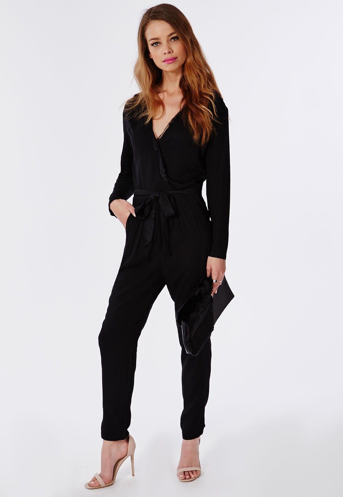 40d393984547 Eyelash Lace Wrap Jumpsuit Navy - Jumpsuits - Evening Jumpsuits - Missguided