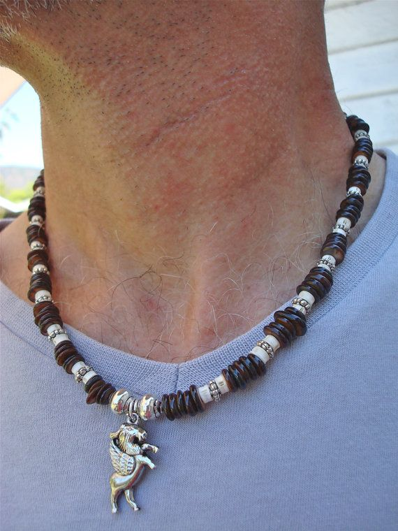 ce6d34a8adad3 Men's Necklace with Carved Bone Shell Bali Beads by tocijewelry ...