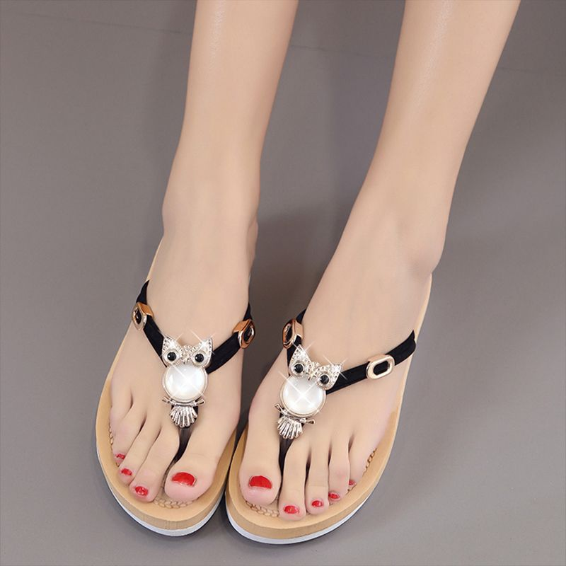 aa5b0c36f Slip On Flip Flops Beaded Sandals Cute Owl Diamante Flat Shoes Women Ladies  Rubber Summer Rhinestone Slippers Platform