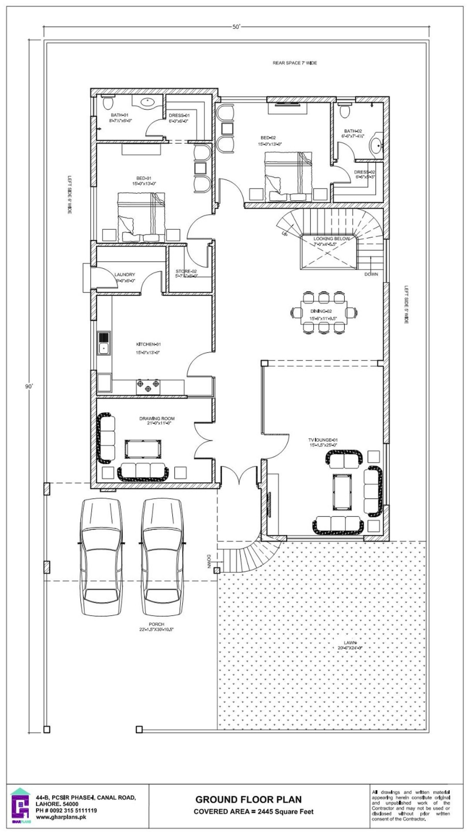 1 Kanal Home Design Idea 50 X 90 Ground Floor Plan Basement House Plans Ground Floor Plan Floor Plans