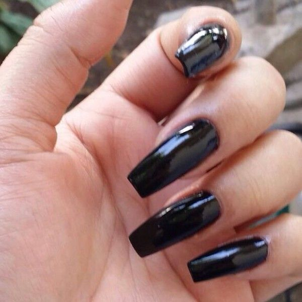 Glossy Black Coffin Nails Liked On Polyvore Featuring Beauty Products And Nail Care Long Black Nails Black Coffin Nails Matte Black Nails