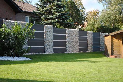 gabionen kombiniert mit wpc sichtschutzelementen gartenz une garten landschaftsbau. Black Bedroom Furniture Sets. Home Design Ideas
