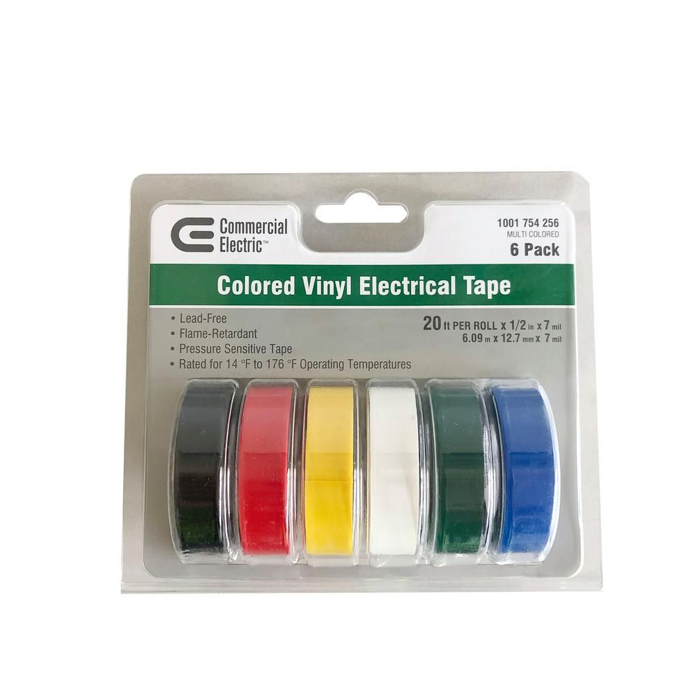 Commercial Electric 1 2 In X 20 Ft Electric Tape Multi Color 6 Pack 30005336 The Home Depot In 2020 Electrical Tape Commercial Electric Metal Electrical Box