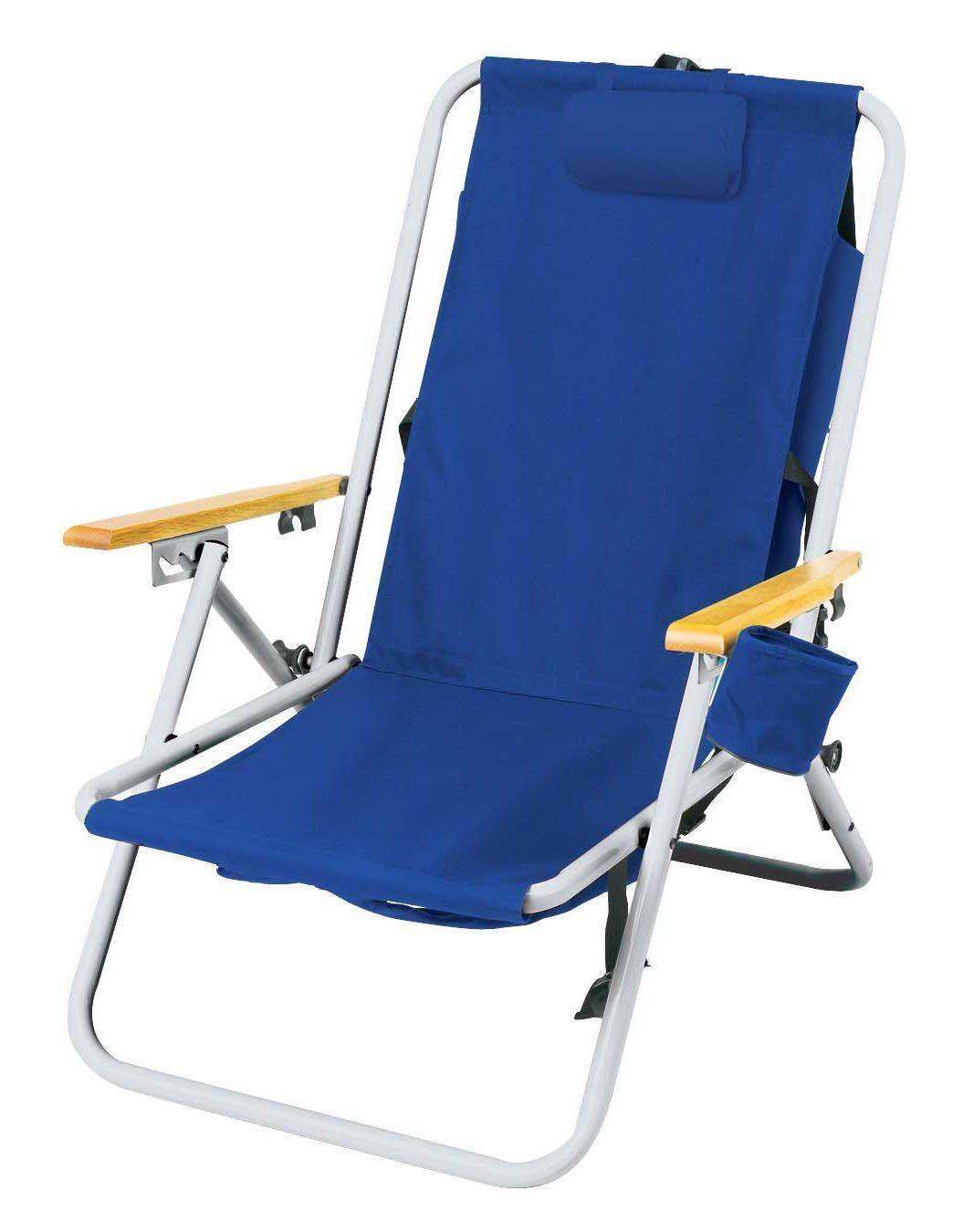 High back steel backpack beach chair by