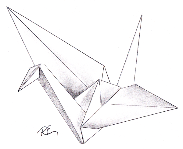 Origami Crane Drawing Google Search Art Stuff Crane Drawing